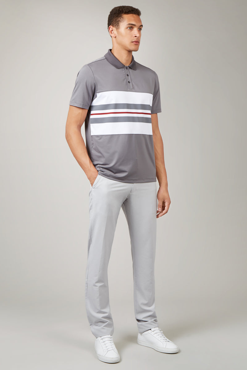 Solid Grey Chest Stripe Polo