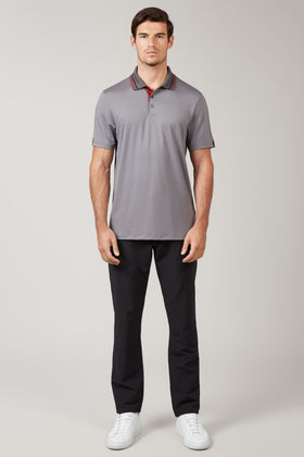 Solid Grey Sleeve Stripe Polo