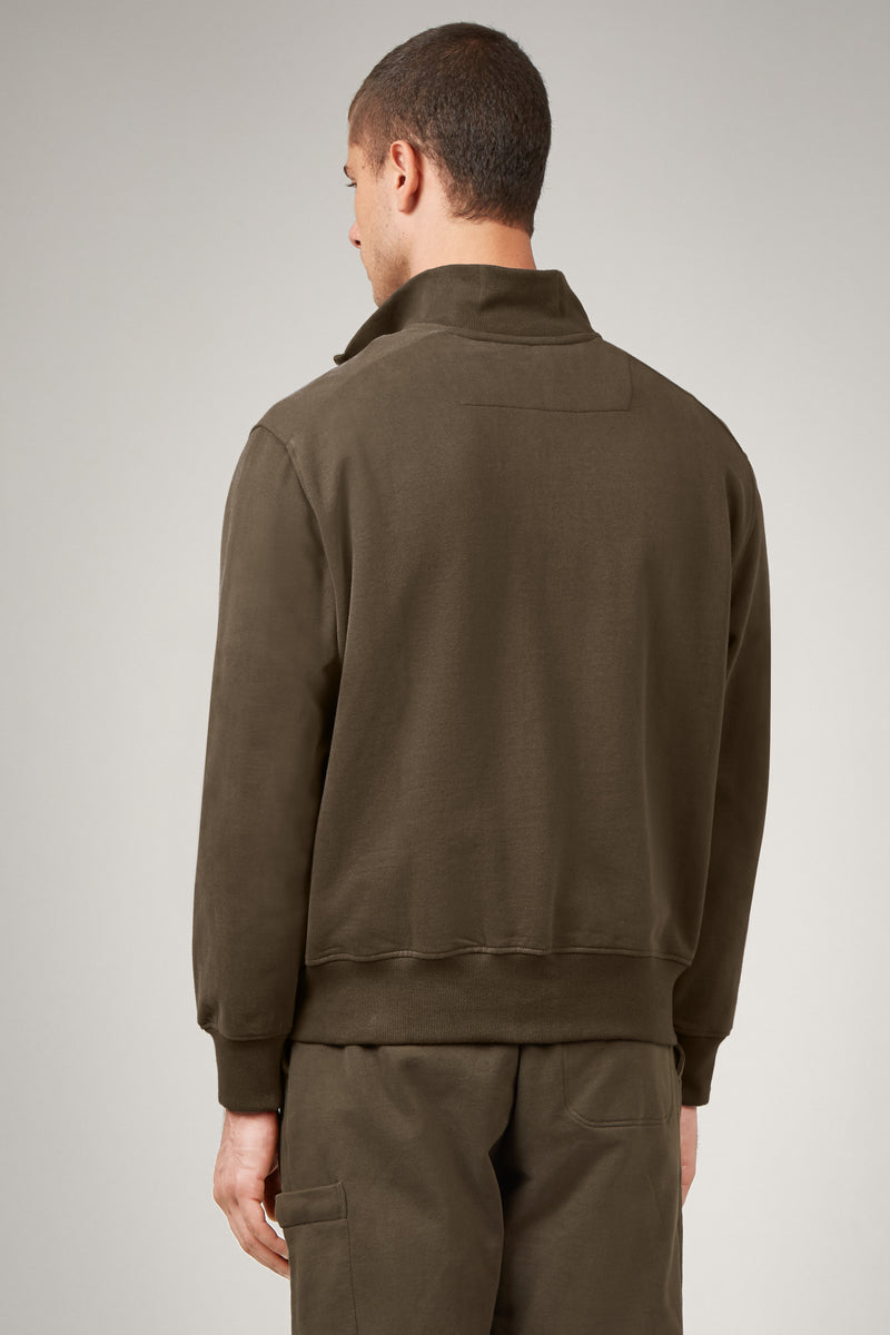 Army Green Funnel Neck Sweatshirt