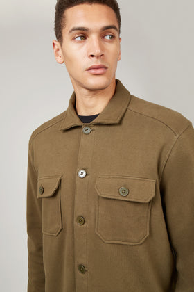 Army Green Jersey Over Shirt