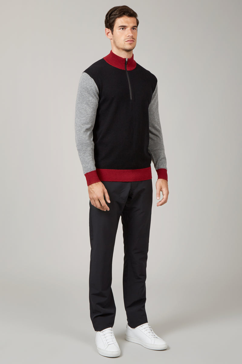 Black Collar Block 1/4 Zip