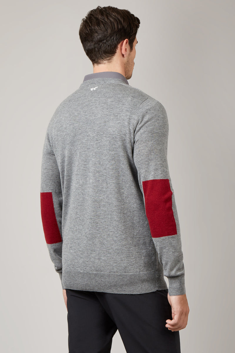 Grey Elbow Patch Crew Neck