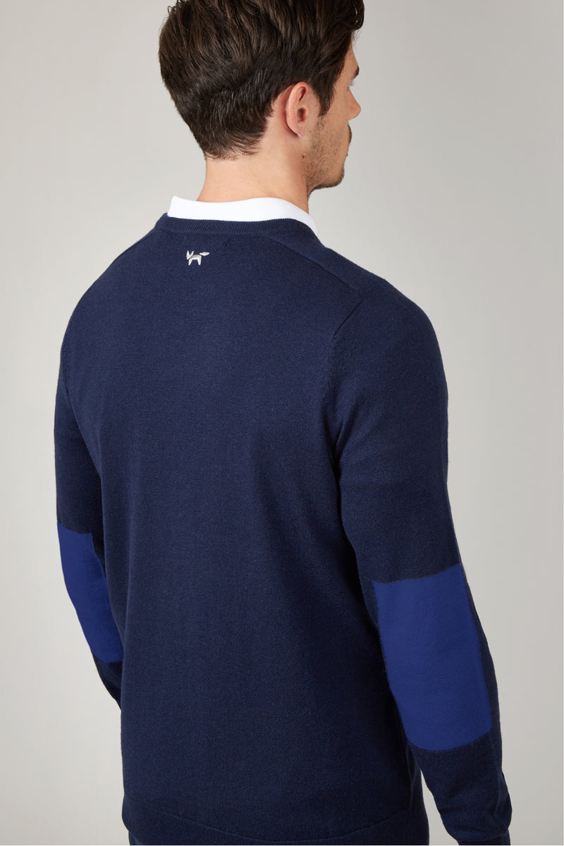 Navy Elbow Patch Crew Neck