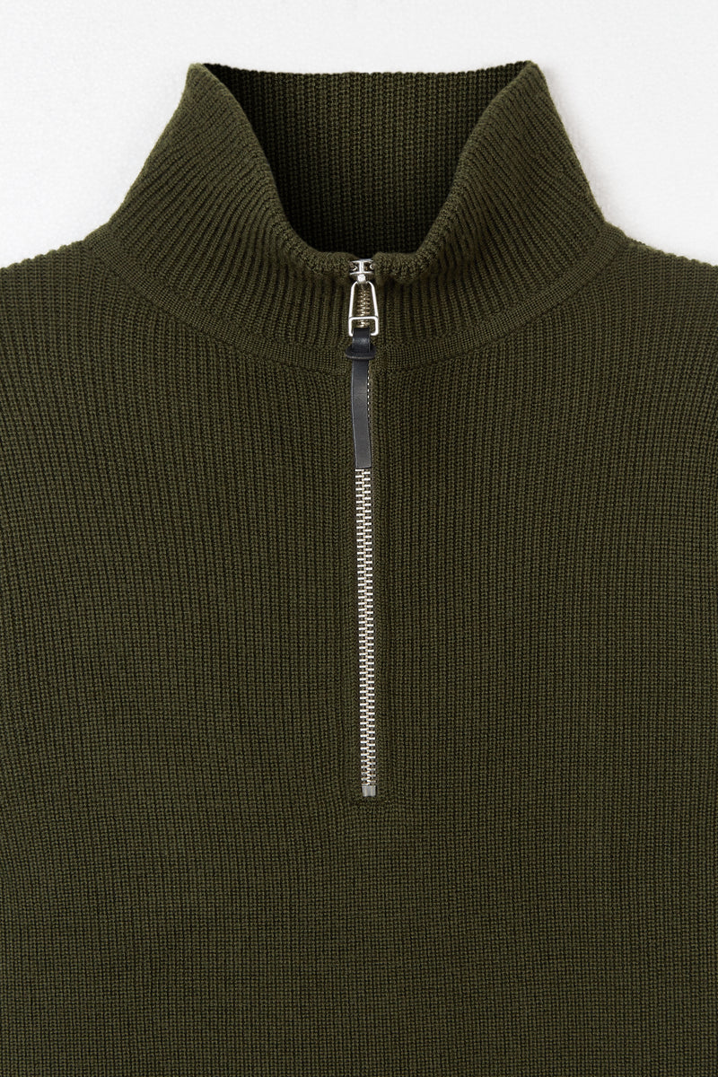 Army Green Tuck Rib 1/4 Zip