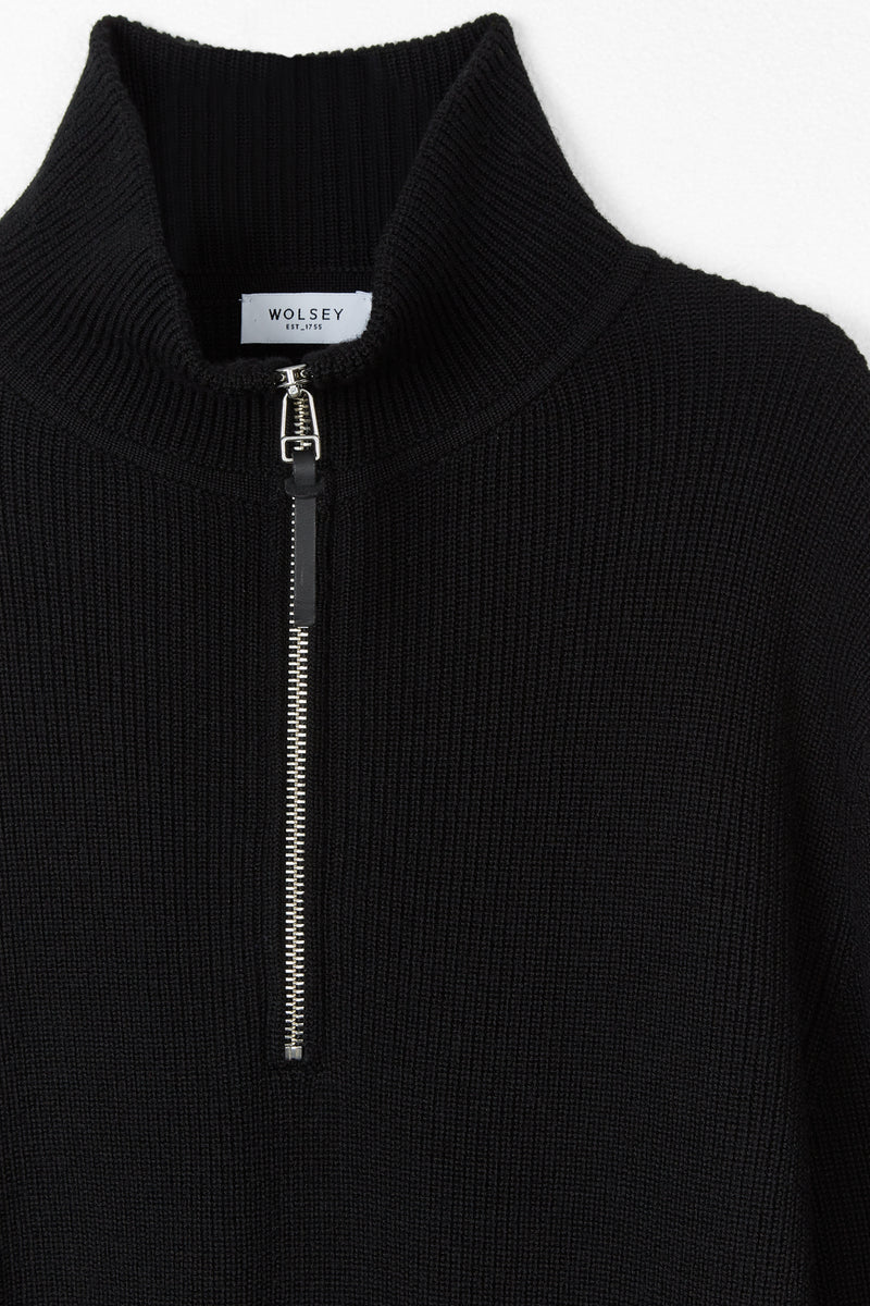 Black Tuck Rib 1/4 Zip