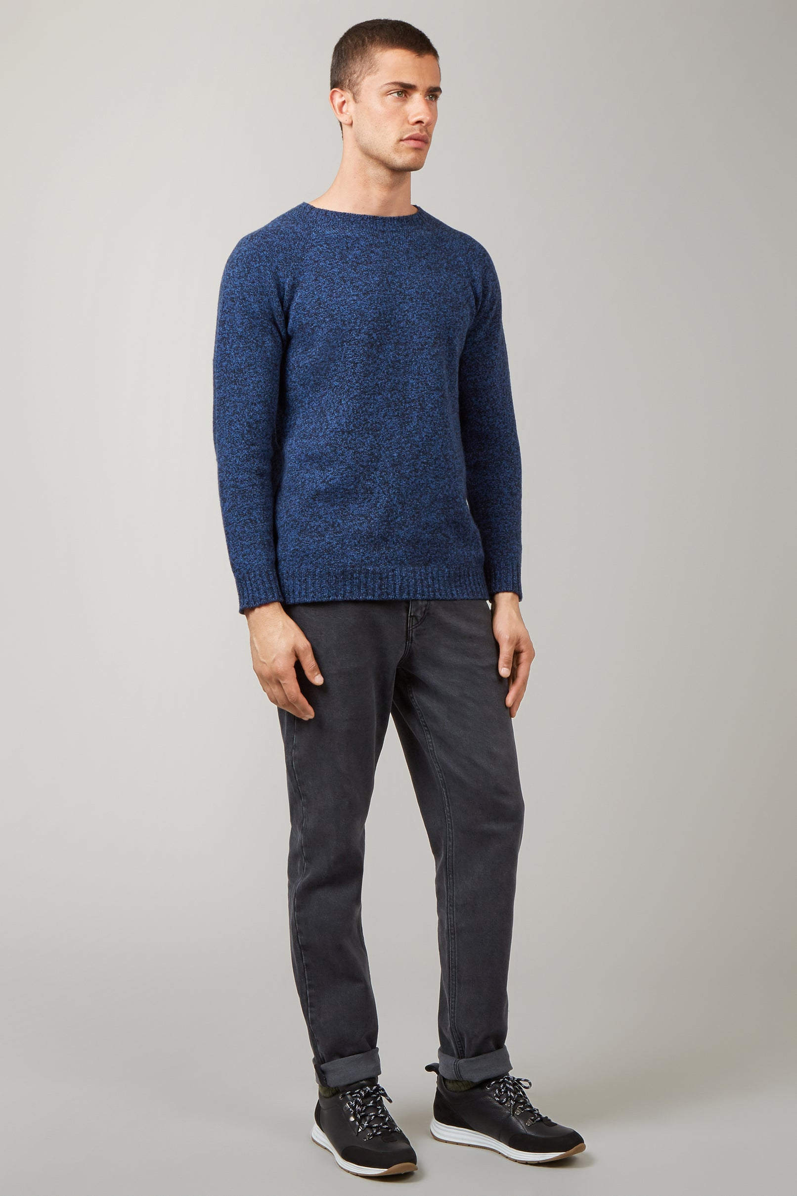 Navy/Indigo Twisted Lambswool Crew Neck