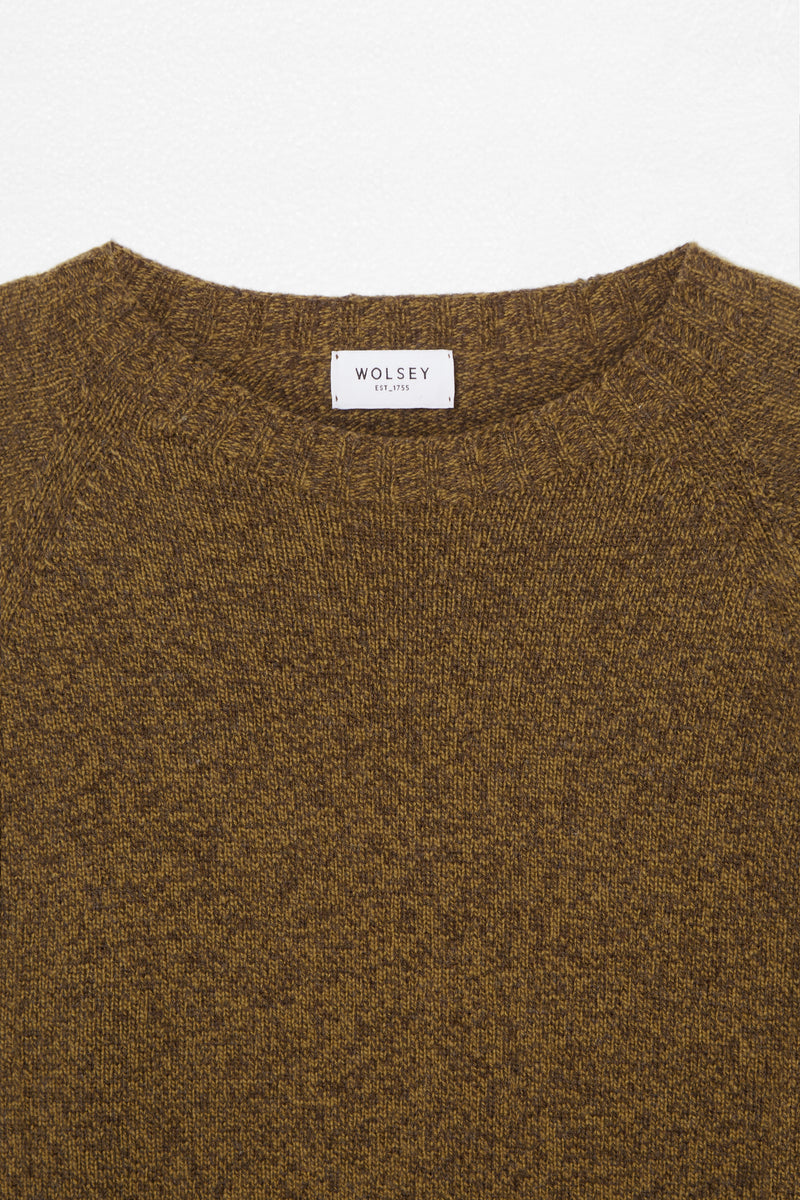 Scarab/Teak Twisted Lambswool Crew Neck