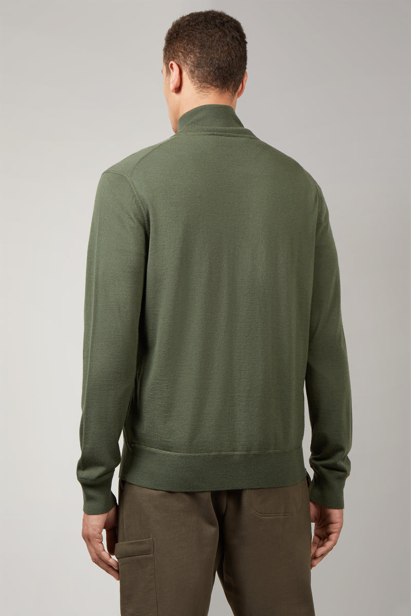 Army Green Zip Through Cardigan