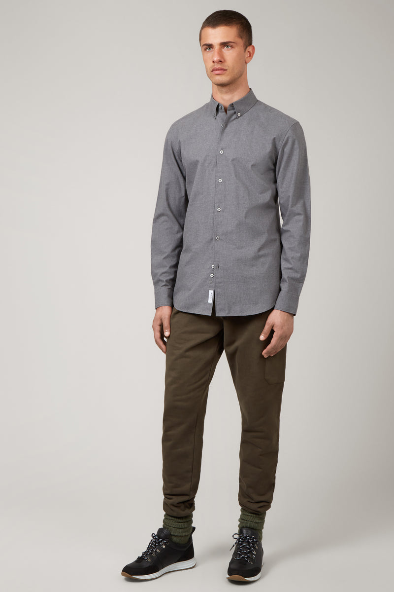 Grey Button Down Twill Shirt