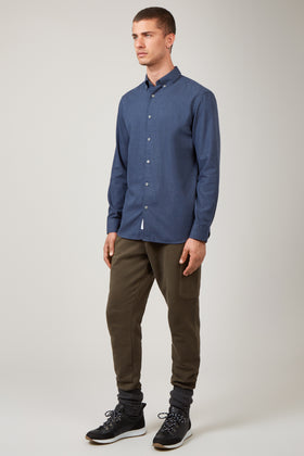 Navy Button Down Twill Shirt
