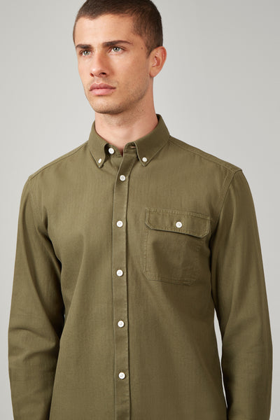 Army Green Triple Needle Stitch Shirt