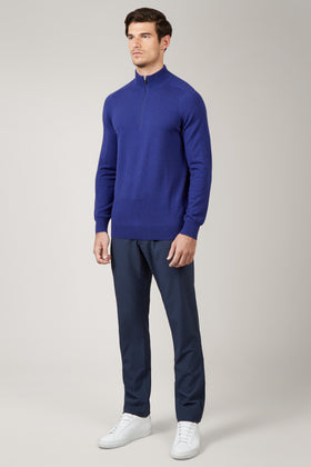 Electric Blue Merino 1/4 Zip Sweater
