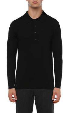 BLACK MERINO LONG SLEEVE KNIT POLO