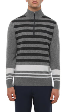 GREY MELANGE MULTI STRIPE 1/4 ZIP SWEATER