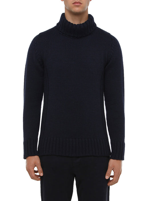 NAVY WOOL ROLL NECK SWEATER