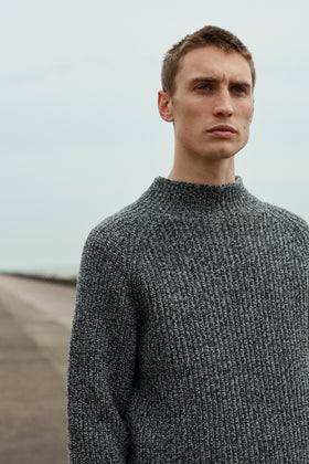 Charcoal Grey Rib Turtle Neck