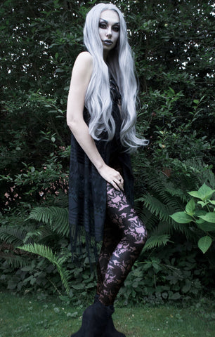 Katrin Lanfire garden elf in ravens and cauldrons goth leggings