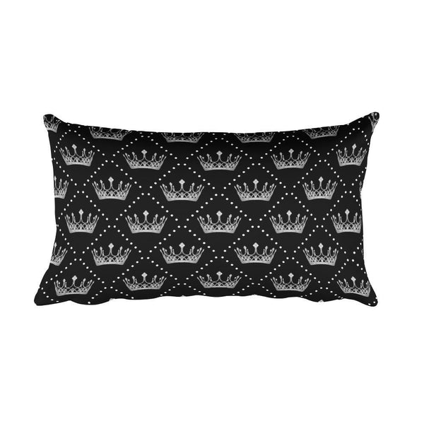 Crowns and Pearls Rectangular Pillow - Black Wolf Siren