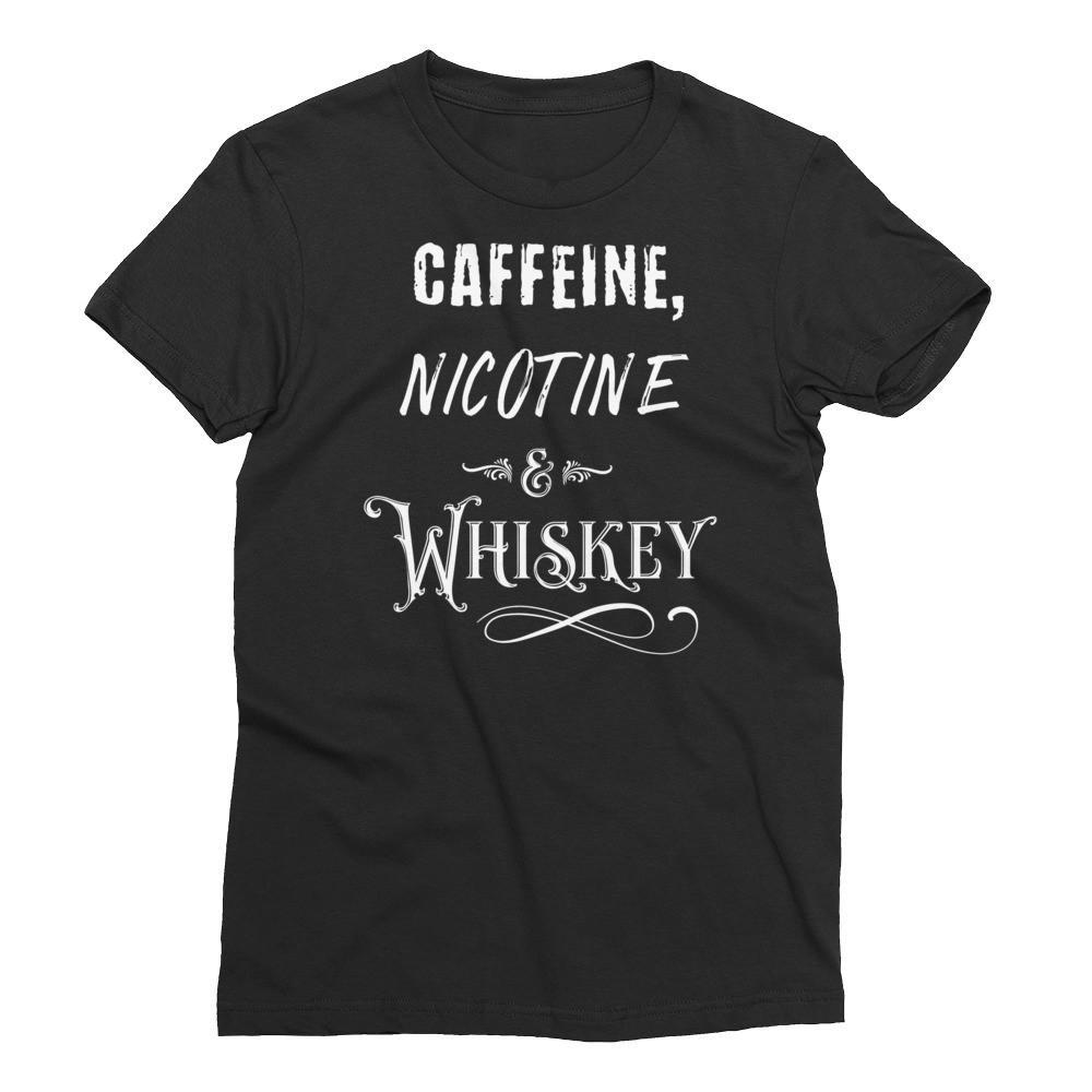 Caffeine, Nicotine and Whiskey Men's Shirt - Black Wolf Siren - Caffeine, Nicotine and Whiskey  Zip Hoodie - Black Wolf Siren - funny, cheeky, attitude, alternative shirt