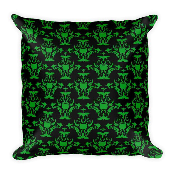 Ravens and Cauldrons Ivy Square Pillow - Black Wolf Siren