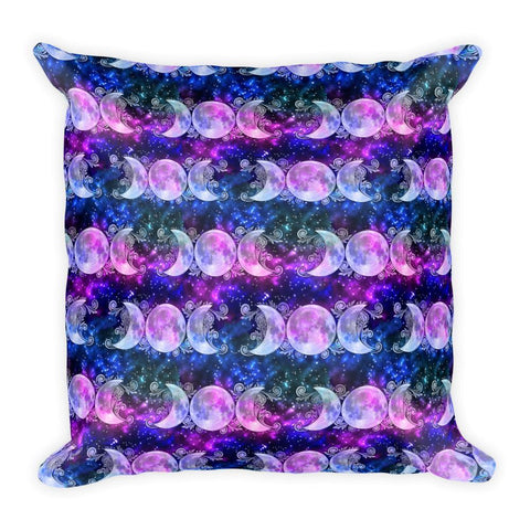 Triple Goddess Moons and Stars Square Pillow - Black Wolf Siren