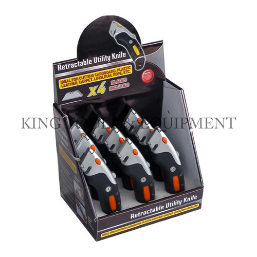 KING Retractable UTILITY KNIFE w/ 4 Extra Blades Each + Display Box