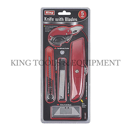 KING 5-pc Assorted UTILITY KNIFE SET w/ Extra Blades