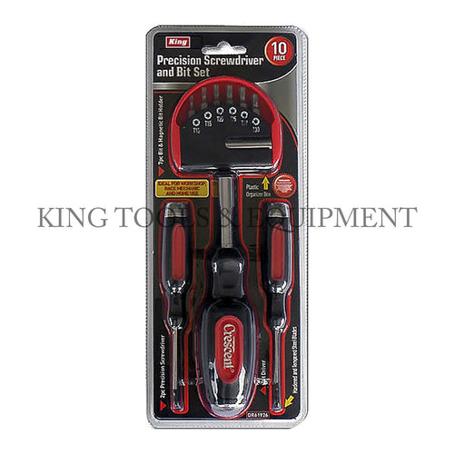 KING 10-pc Precision SCREWDRIVER and BIT SET w/ Handle