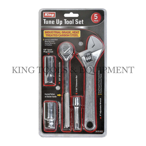KING 5-pc Assorted TUNE UP TOOL SET w/ Wrench + Spark Plug + Ratchet Handle