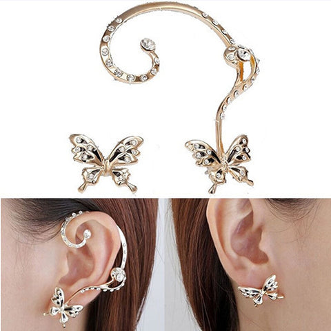Butterfly Clip-On Cuff Earrings
