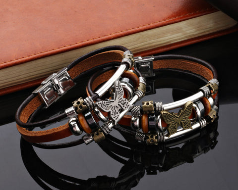Unisex Butterfly Leather Bracelet
