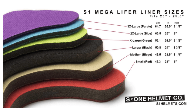 Lifer Helmet Replacement Sizing Liners
