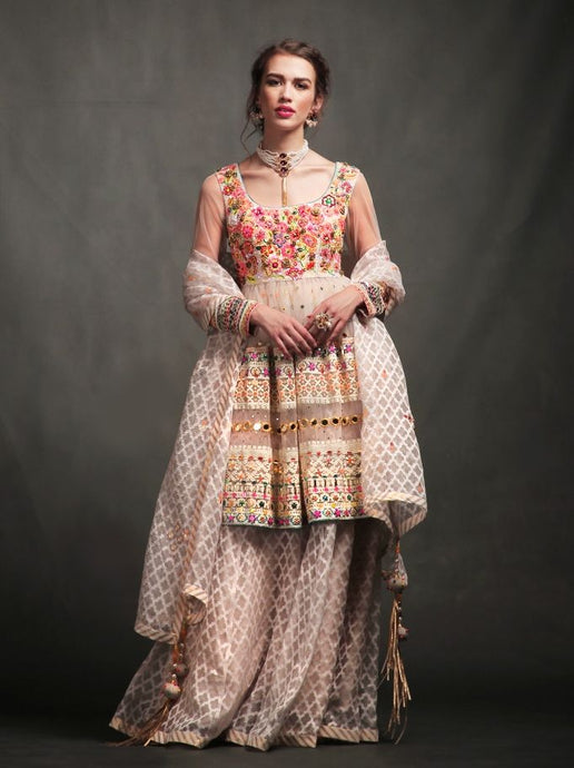 EMBROIDERED TOP WITH SKIRT AND DUPATTA