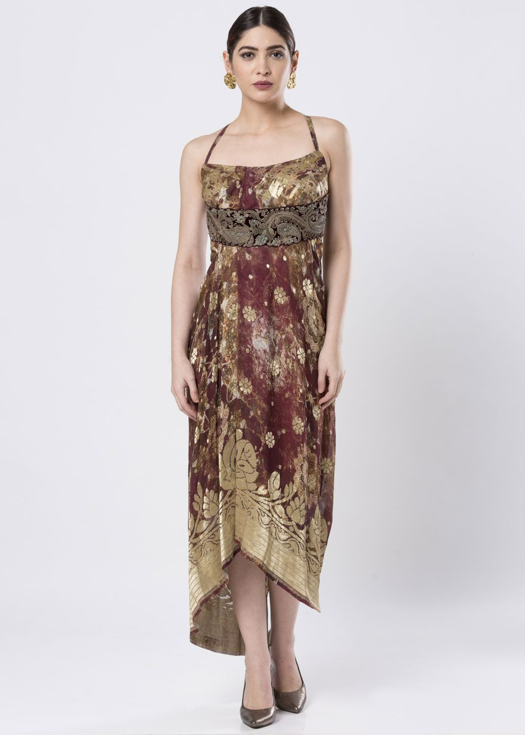 ASYMMETRICAL BROCADE DRESS