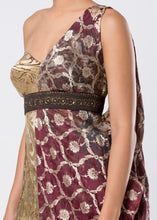 DRAPED BROCADE DRESS