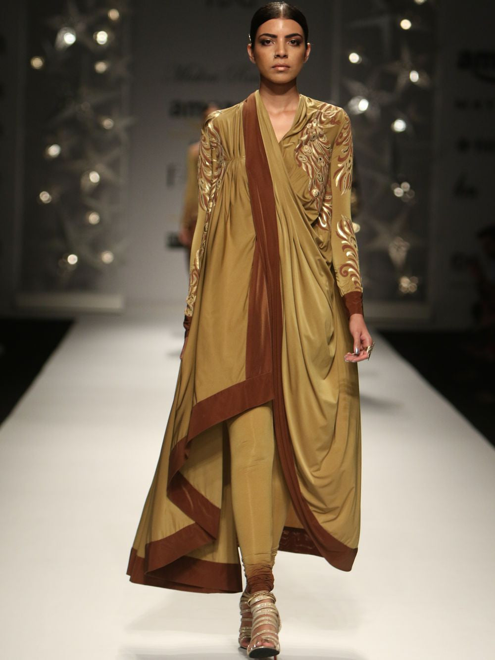 Ombred Long Cape With Churidar