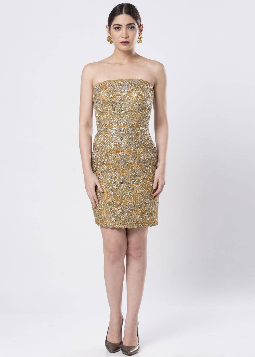 HAND EMBROIDERED BROCADE DRESS
