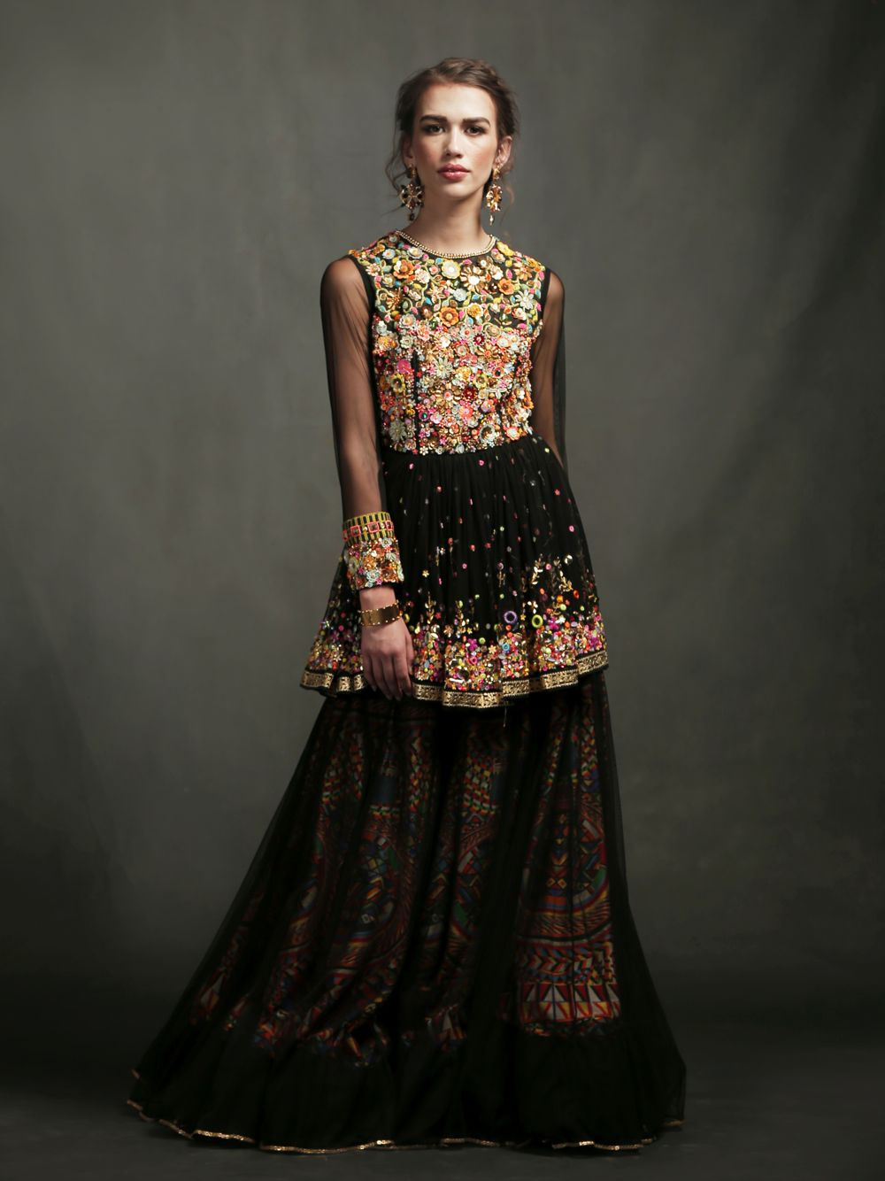 EMBROIDERED TOP WITH LAYERED SKIRT