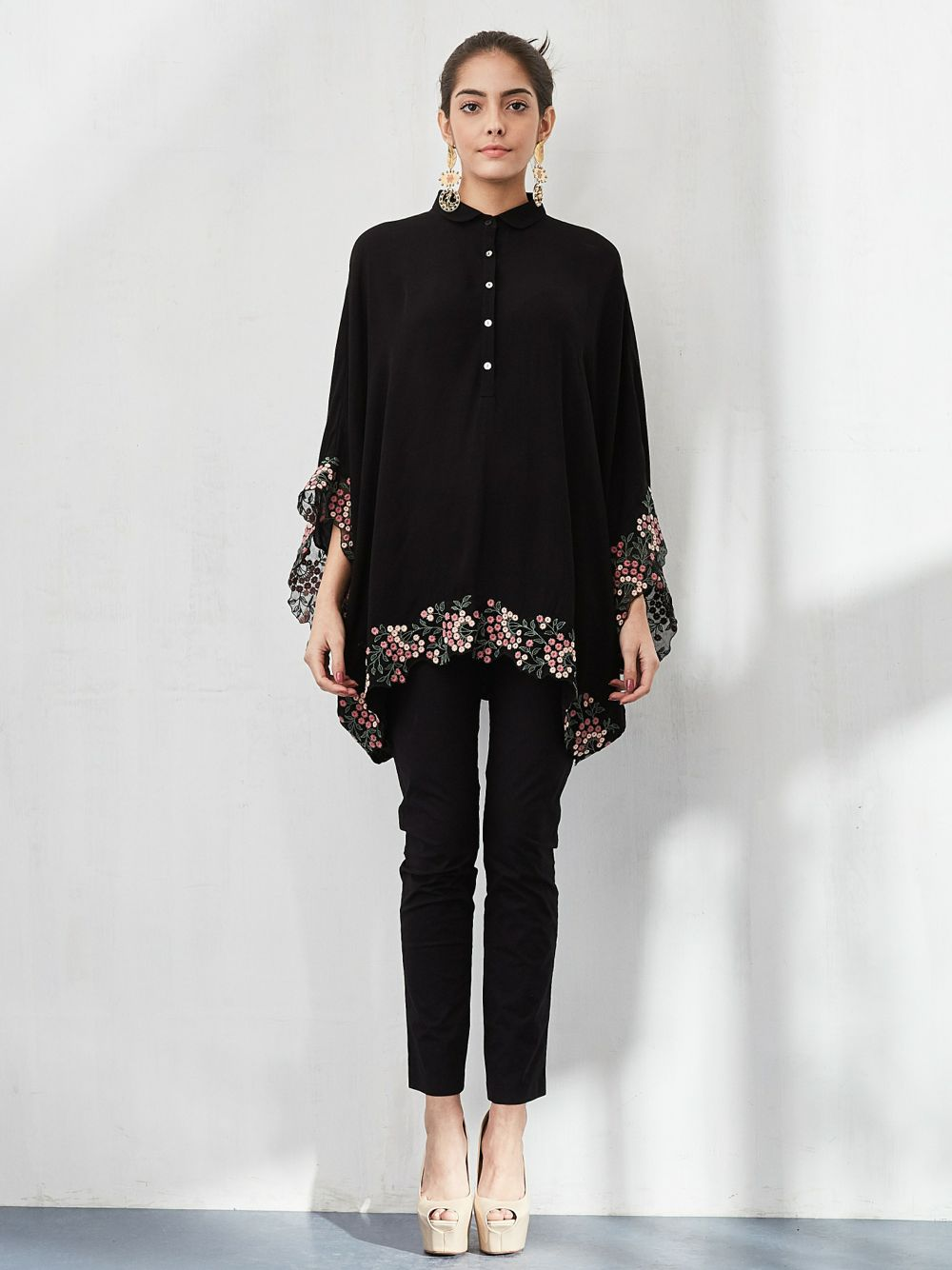 Boxy Shirt with Resham Embroidered Border