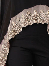 Black Thread Embroidered Cape