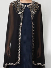 Black and Navy Dress with Cape