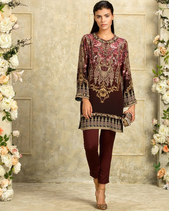 Hand Embroidered Printed Tunic