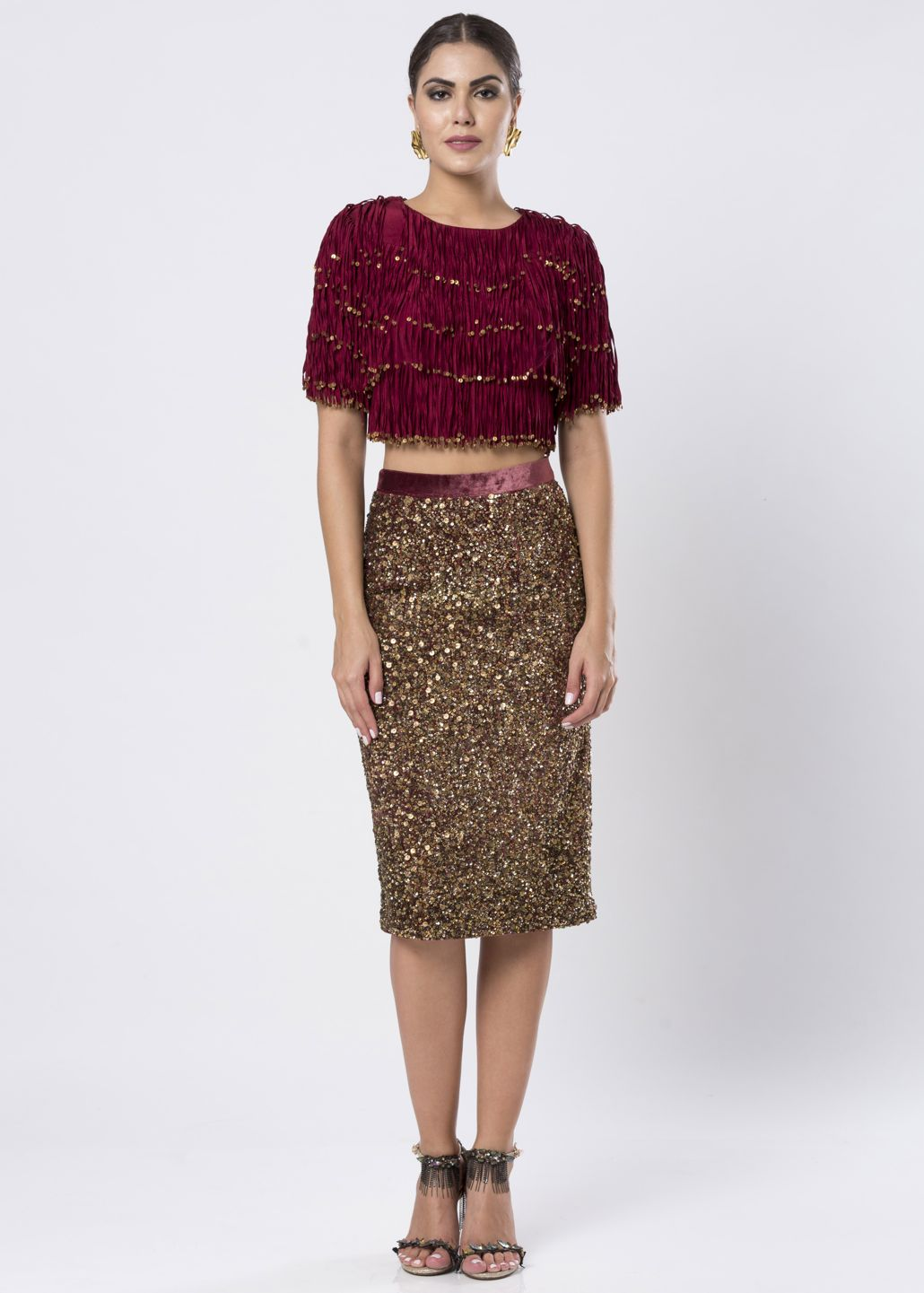 VELVET TOP & SEQUINED SKIRT