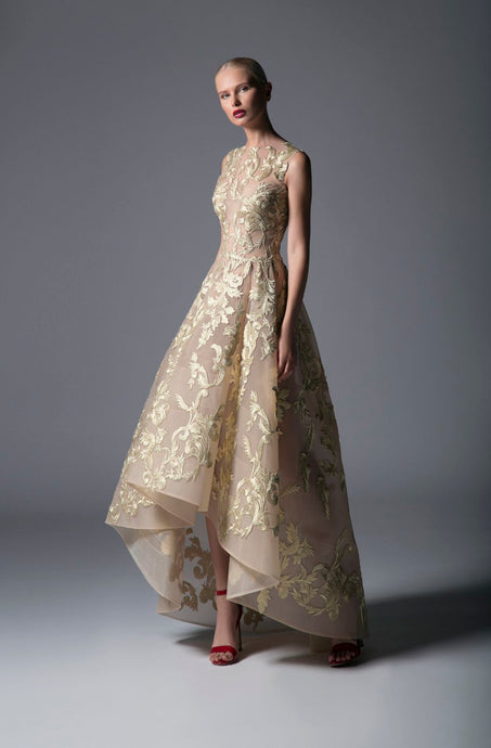 EMBROIDERED EVENING GOWN