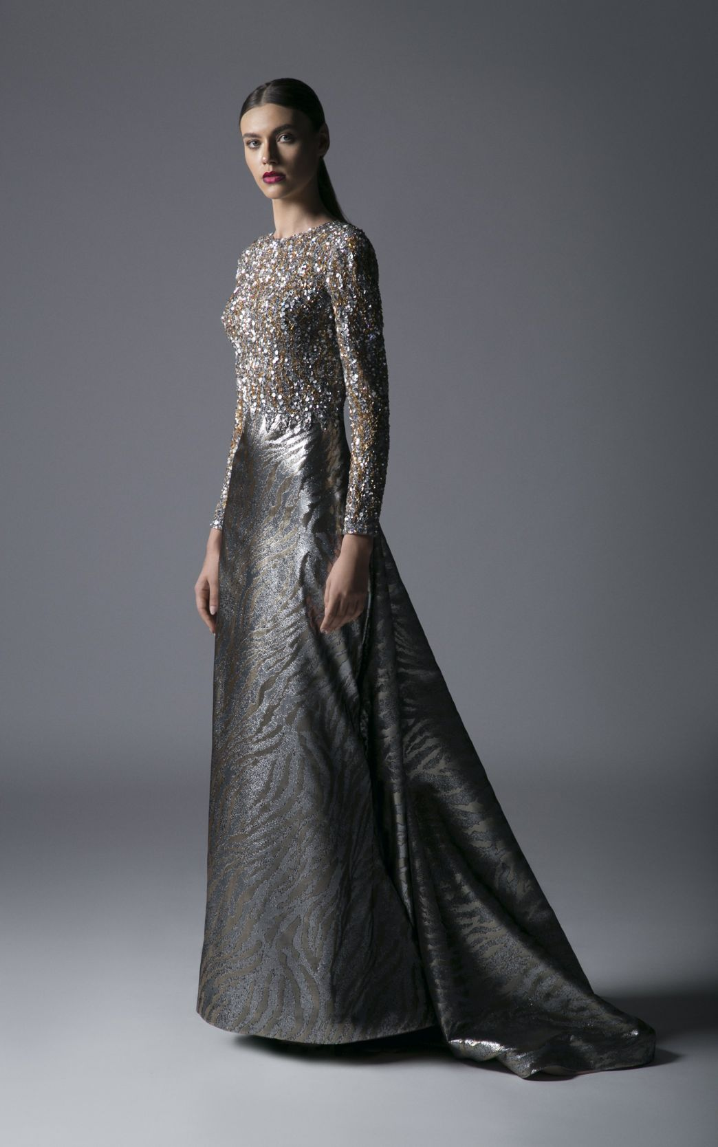 JEWELED MOIRÉ GOWN
