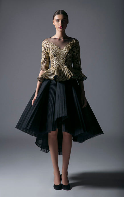 EMBROIDERED TOP & PLEATED SKIRT