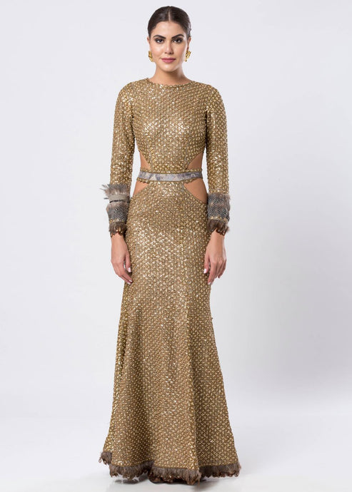 SEQUINED CUTOUT GOWN