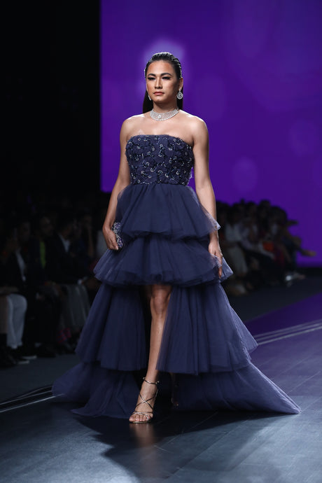 Midnight Blue Embroidered Ball Gown
