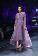 Lavender Bird Motif High Low Dress