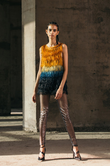 Gradient Glass Fringed Top + Shimmer Lurex Leggings